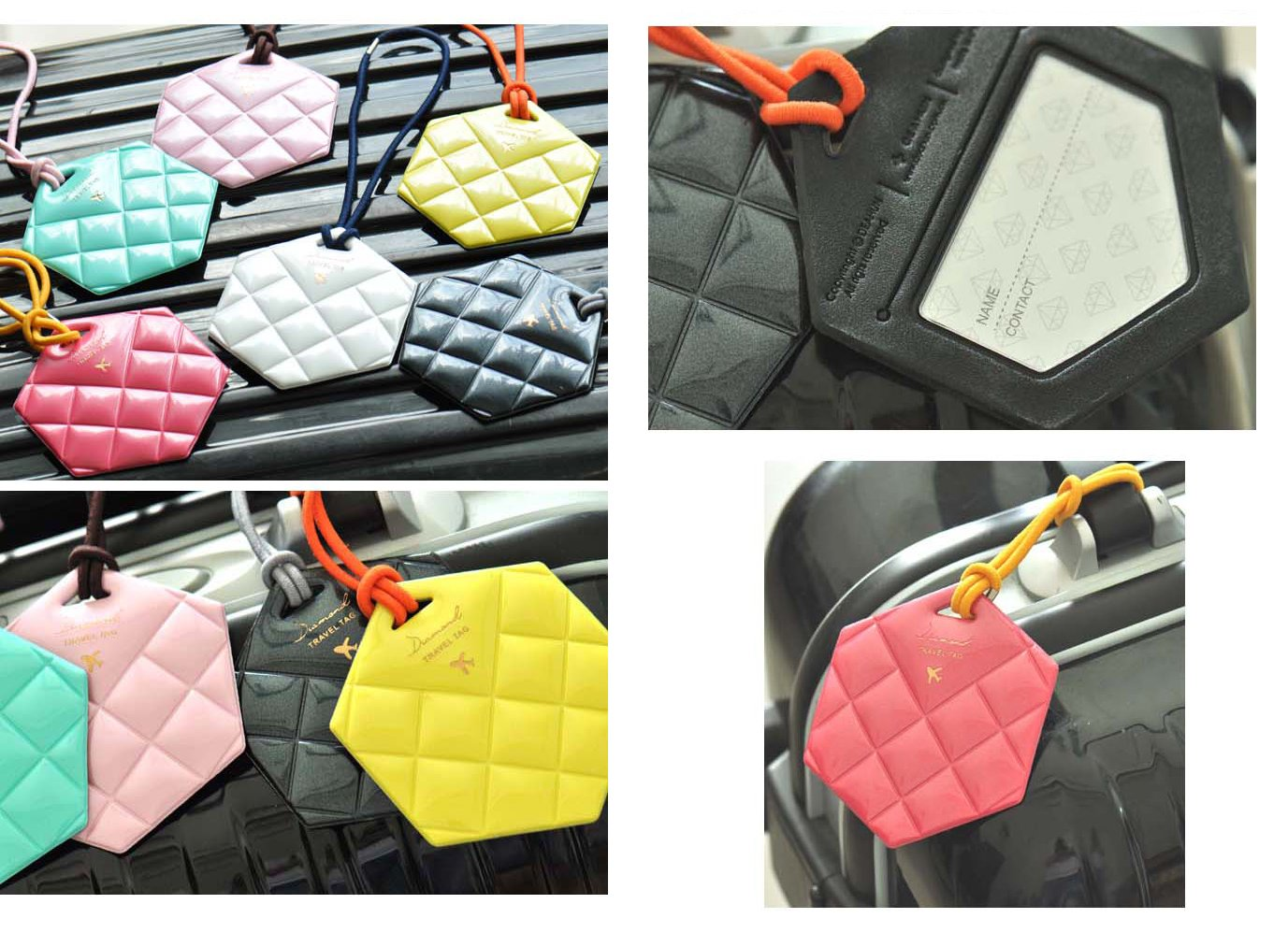Luggage Tag Quilted Diamond PVC Design l Bagpack Travel Tags Id Name Tag 6 Pack (4 Pc Set)