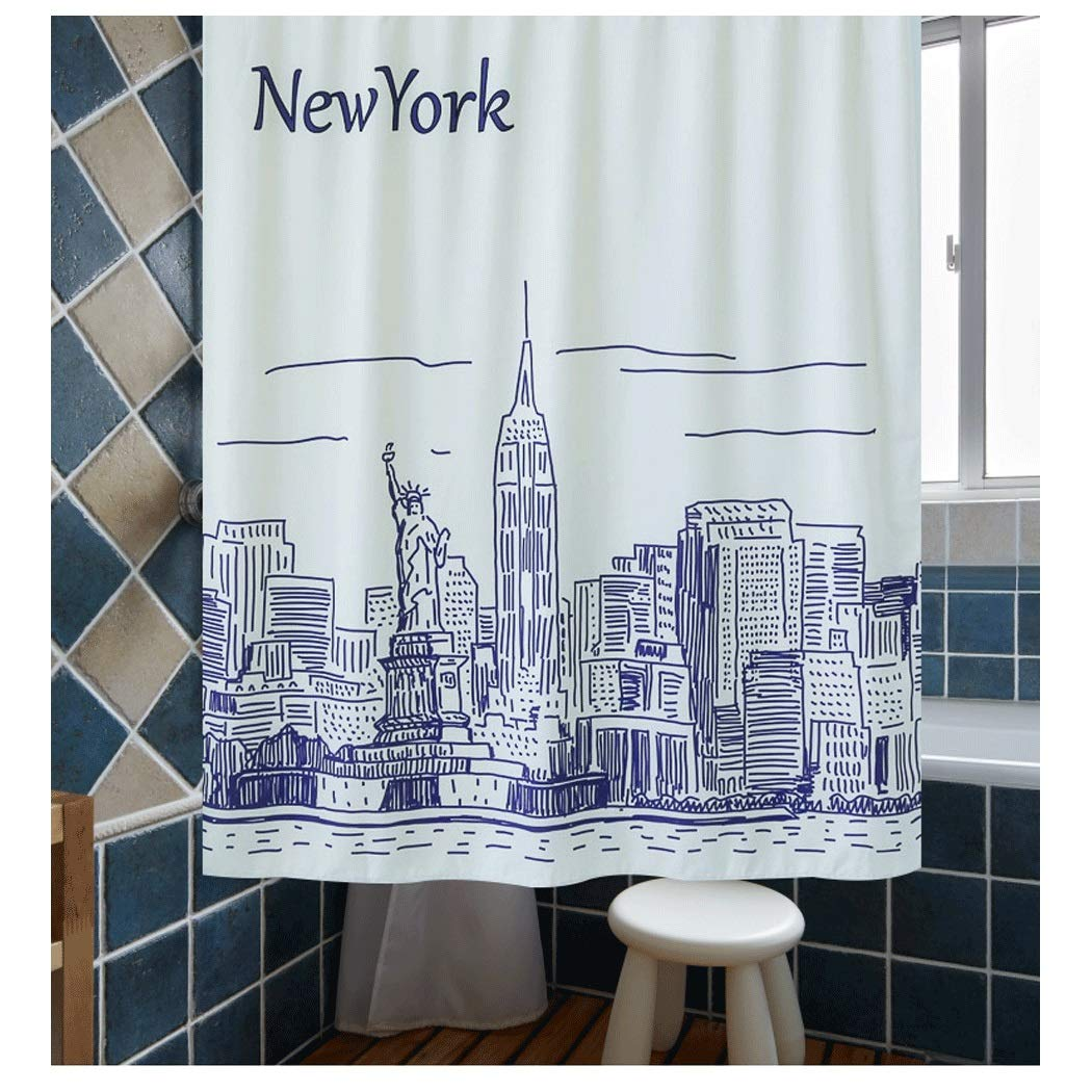 Yongyong Simple Hand-Painted Black and White City Shower Curtain European and American Sanitary Partition Curtain Waterproof Ventilated Shower Curtain Set to Send Hang Buckle by Yongyong (Image #5)