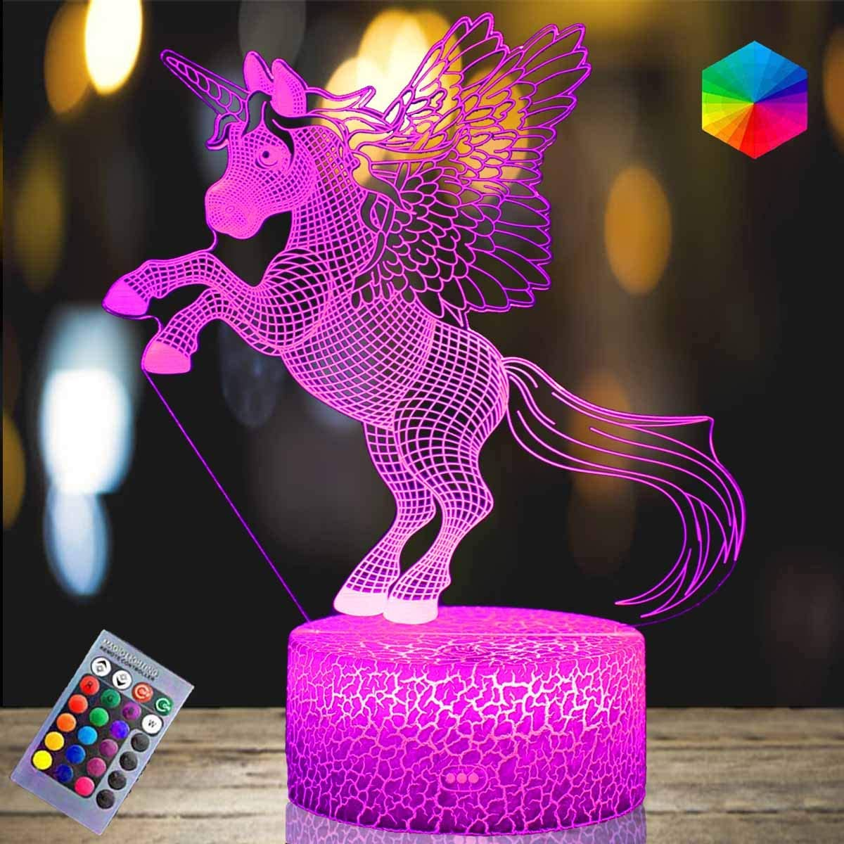 Unicorn Night Light for Girls 16 Colors Changing Dimmable Unicorn Lamps for Girls Bedroom Touch&Remote Control Unicorn Toys for 1 2 3 4 5 6 7 8 Year Old Girl Gifts