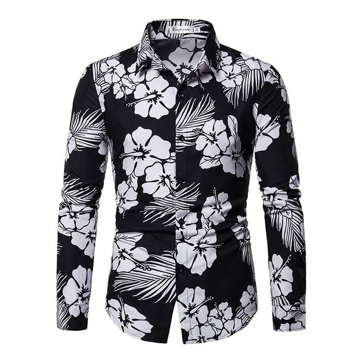 Otto Dobbin Spring Mens Shirt 3D Print Casual Long Sleeve Flower Shirt