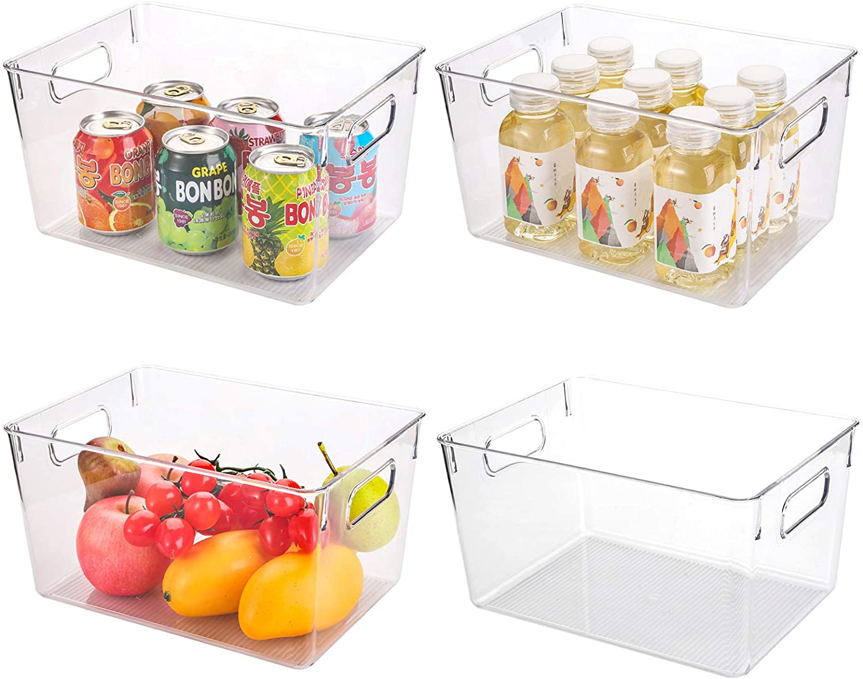 Kingrol 4 Pack Plastic Storage Bins for Freezer, Pantry, Countertop, Cabinet Organization, Stackable Food Storage Organizer with Handles, BPA Free, 11.25 x 8 x 6 Inch