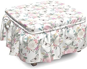 Lunarable Shabby Flora Ottoman Cover, Spring Flora and Fauna, 2 Piece Slipcover Set with Ruffle Skirt for Square Round Cube Footstool Decorative Home Accent, Standard Size, Pale Pink