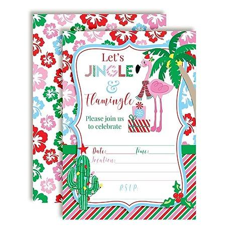 amazon com winter tropical flamingo themed holiday christmas