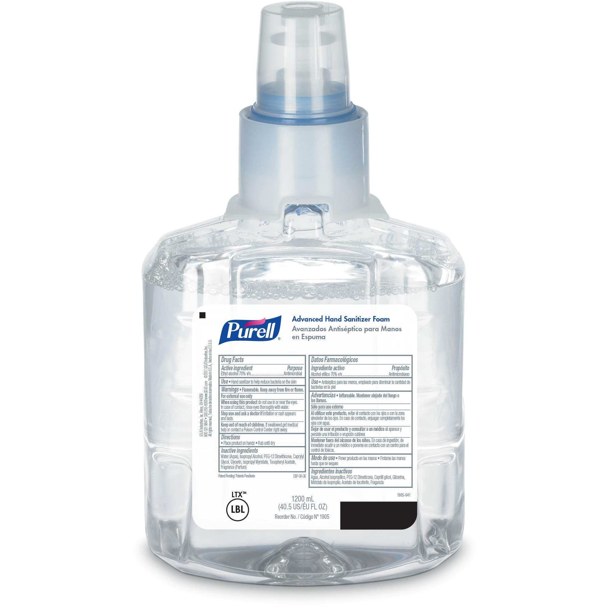 PURELL Advanced Hand Sanitizer Foam LTX-12 Starter Kit, 2 - 1200 mL Hand Sanitizer Foam Refills + 1- PURELL LTX-12 Chrome Finish Black Touch-Free Dispenser – 1905-D1
