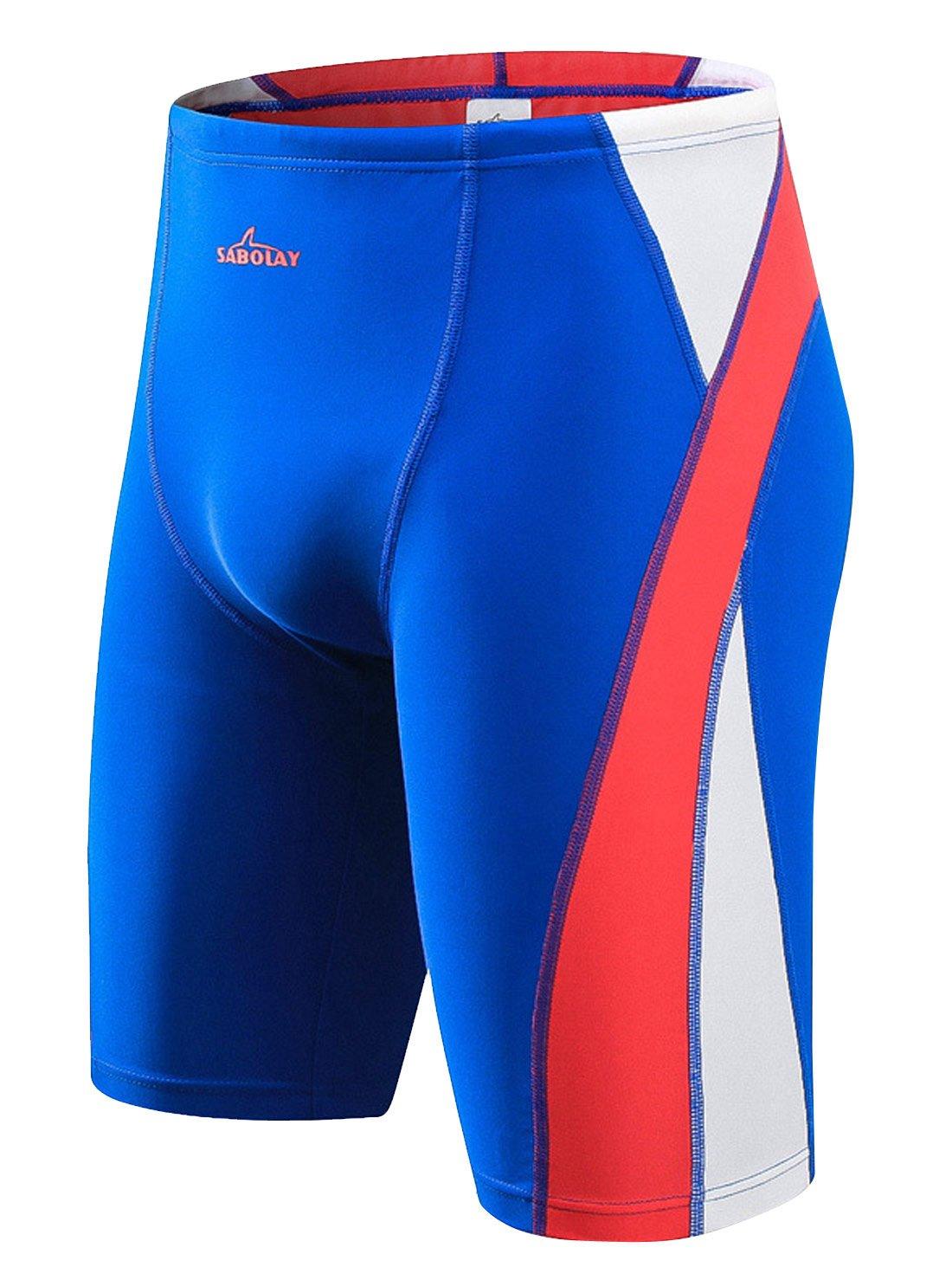 SABOLAY Men's Quick Dry Swim Pants UV Sun Protective Summer Shorts Jammer Leggings Short Spliced Rah Guard Swimwear L