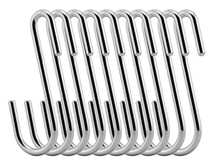 Siasky Heavy Duty Hanging Hooks Pan Pot Holder 10Pcs Stainless Steel S Hook 100/% Nonmagnetic Rack Hooks with Silicone Protective Cover for Kitchen Tools Jewelry Closets Cabinets