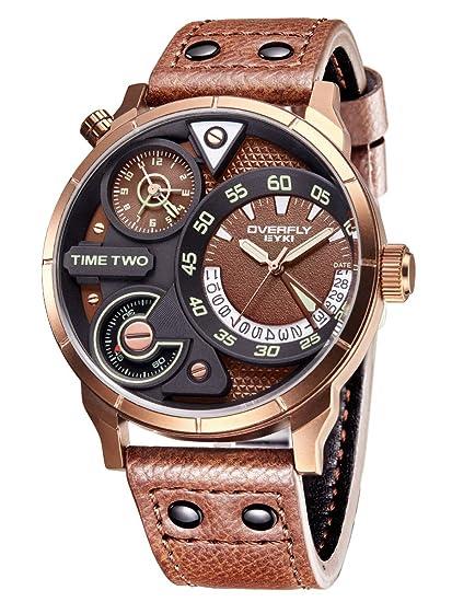 Alienwork Reloj Hombre Relojes Piel sintética marrón Analógicos Cuarzo Calendario Fecha Bronce marrón Impermeable Múltiples Zonas horarias: Amazon.es: ...