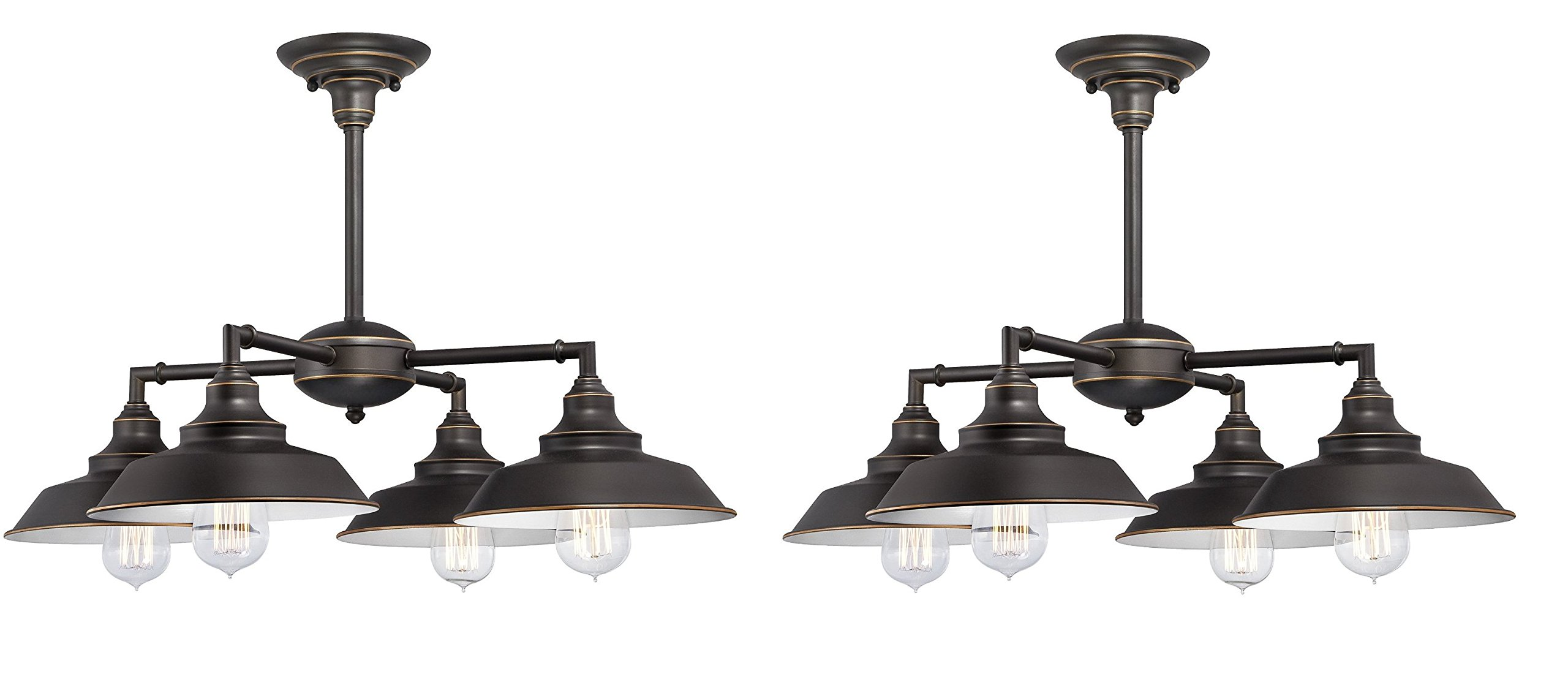 Four-Light Indoor Convertible Chandelier/Semi-Flush Ceiling Fixture, Oil Rubbed Bronze Finish with Highlights and Metal Shades (2 Pack) by Westinghouse