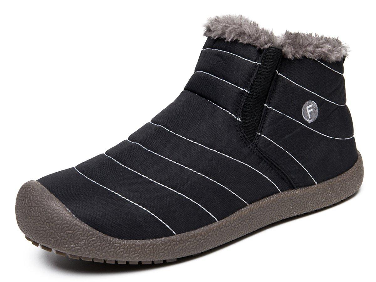 YIRUIYA Men's Winter Snow Boots High Top Warm Walking Sneakers Black/High Top 10 D(M) US