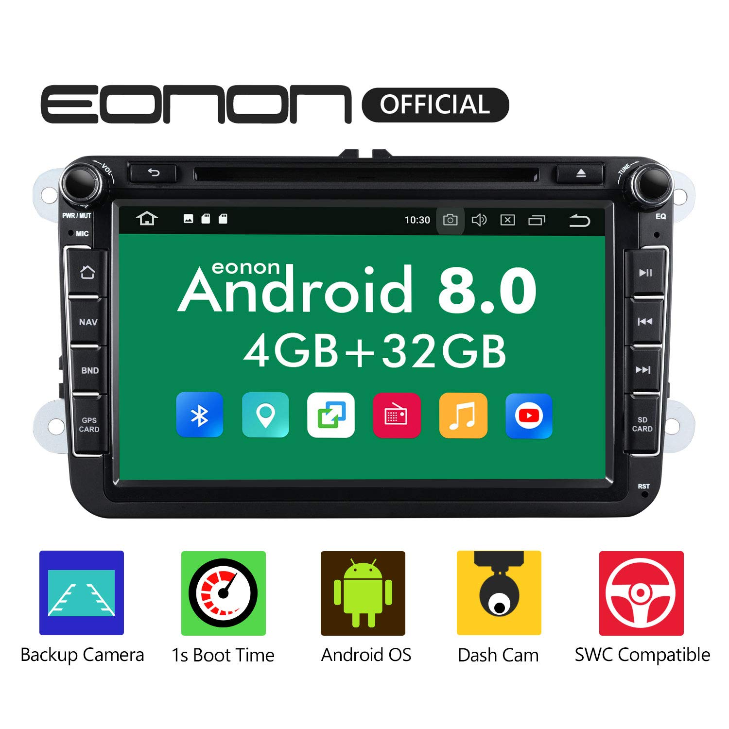 Car Stereo,Double Din Car Stereo,Eonon Dual Bluetooth Android 8.0 Car Apple CarPlay Car Radio Applicable to Volkswagen/SEAT/Skoda 4GB RAM+32GB ROM Octa-Core 8 Inch with Fastboot Android Auto-GA9153A by Eonon