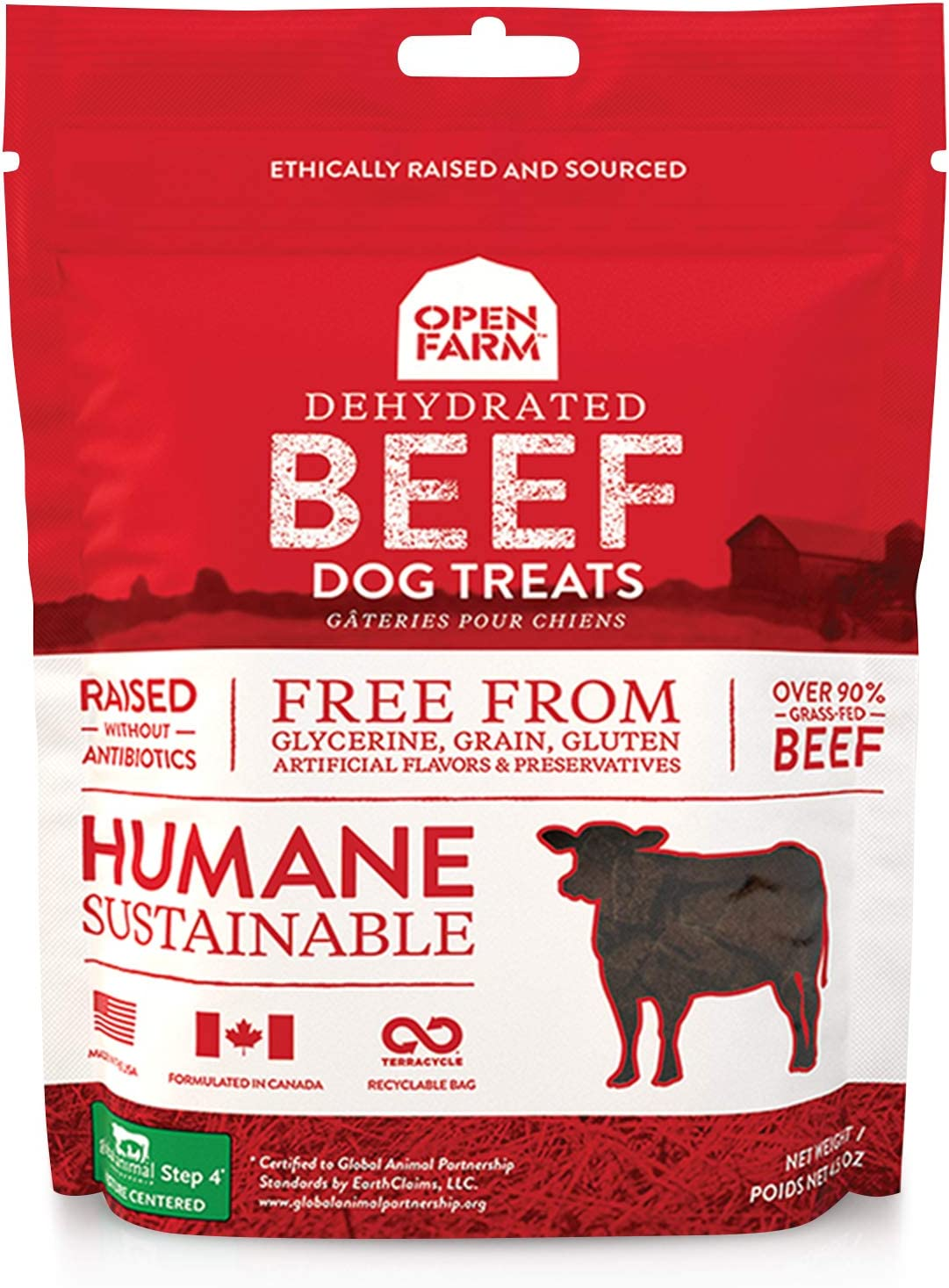 Open Farm Dehydrated Beef Grain-Free Dog Treats, 100% Grass-Fed Beef Recipe with Natural Simple Ingredients and No Artificial Flavors or Preservatives, 4.5 oz