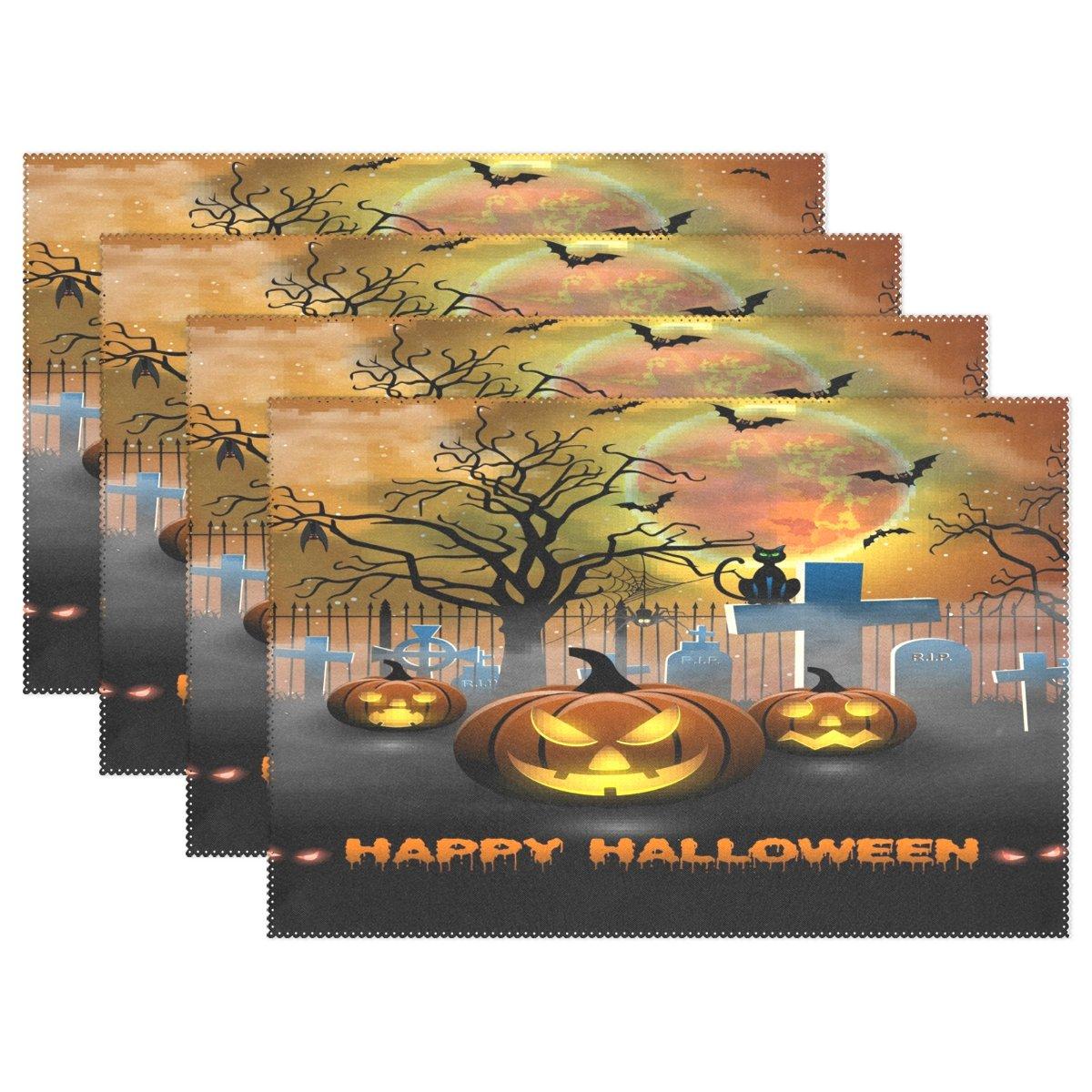 Wozo Happy Halloween Spookyパンプキンゴーストプレースマットテーブルマット12
