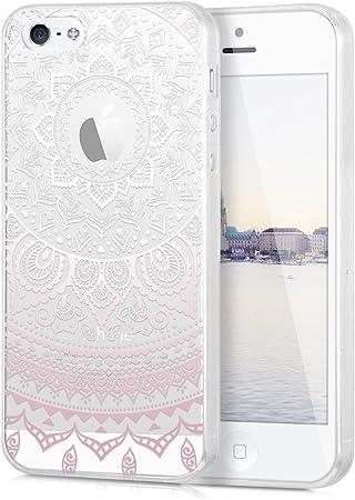 Kwmobile Hülle Kompatibel Mit Apple Iphone Se 1 Gen 2016 5 5s Handyhülle Handy Case Indische Sonne Rosa Weiß Transparent Elektronik