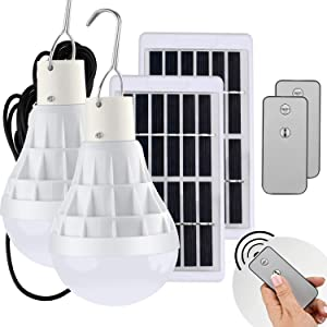 Light Bulb Solar Lights Outdoor 130LM Portable Solar Panel Powered Lamps Rechargeable LED Bulb Lights for Coops Shed Hiking Fishing Camping Tent Lighting (2 Pack)