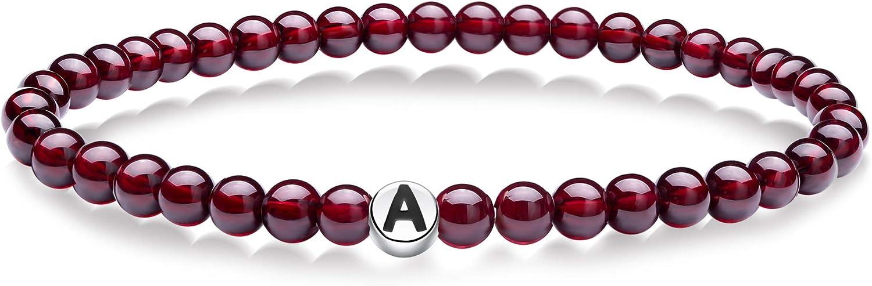 J.Endéar Letra inicial A-Z Alfabeto Pulsera de piedras preciosas, Pulsera de granate natural rojo de 5 mm, Pulseras de cuentas elásticas de plata con letras