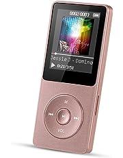 AGPTEK MP3 Player, 8 GB verlustfrei MP3 mit 1.8 Zoll Bildschirm, 70 Stunden Wiedergabezeit tragbare Musik Player, Unterstützung FM Radio, Aufnahmen, bis 64 G TF Karte, (Verpackung MEHRWEG), Rosagold