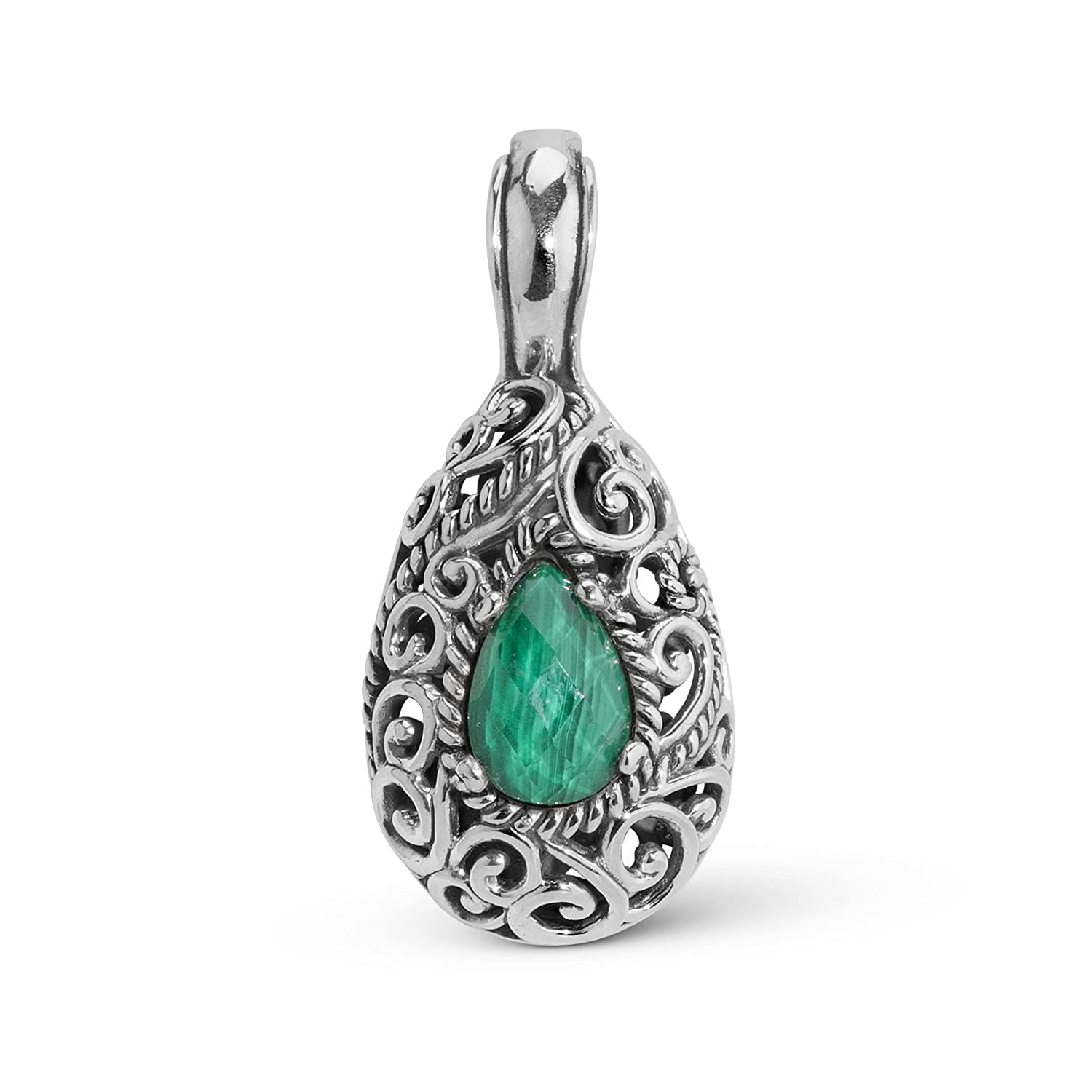 Carolyn Pollack Signature Sterling Silver Malachite Doublet Pendant Enhancer Relios cp6-0326-085