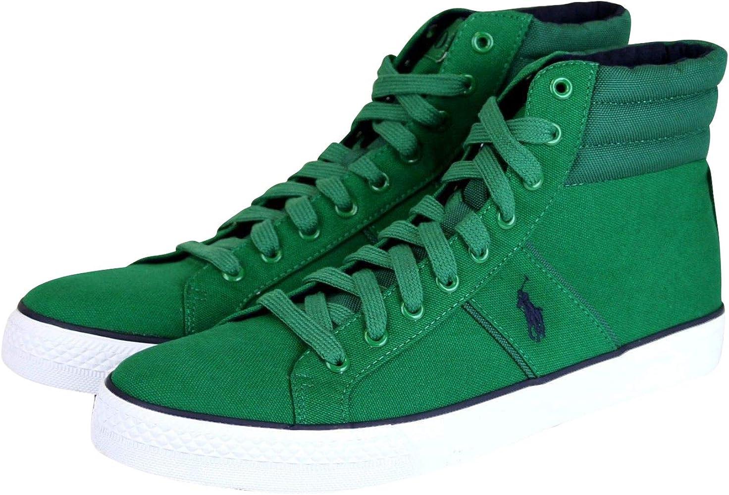 Memorizzare pessimistico Disperato  Amazon.com | Polo Ralph Lauren Men's High Top Bawtry Green Canvas Sneaker  with Logo (12 US) | Shoes