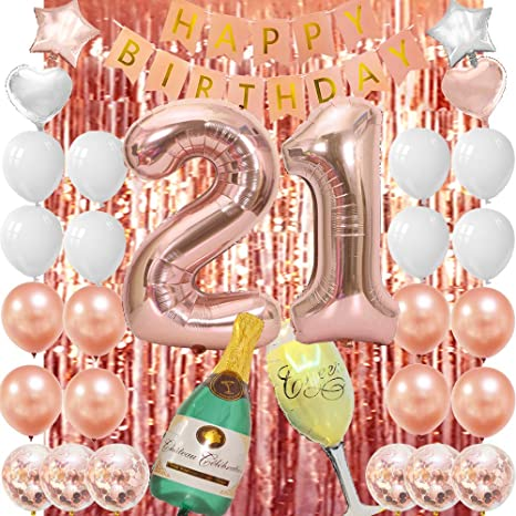 Amazon.com: Decoración de 21 cumpleaños de oro rosa, 21 ...