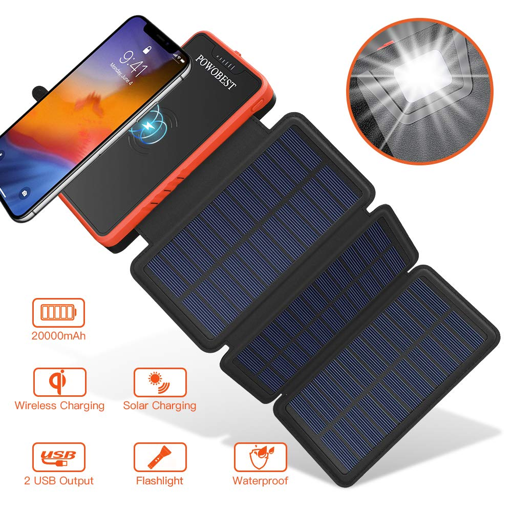 Solar Power Bank Wireless Solar Charger 20000mAh,POWOBEST Waterproof Portable External Battery with 3 Foldable Solar Panels,Flashlight,IPX5,Dual 5V/2.1A USB Ports,for Smartphones, Tables etc (Orange) by POWOBEST