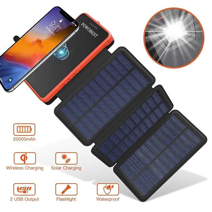 POWOBEST cargador solar inalámbrico de 20000 mAh, batería ...