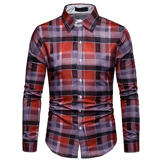 6dace451 NUWFOR Men's Long Sleeve Lattice Plaid Painting Large Size Casual Top  Blouse Shirts