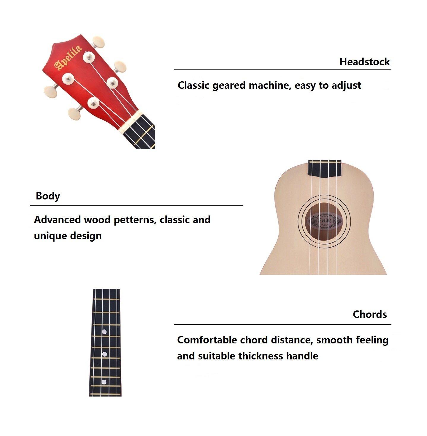 Amazon Apelila 21 Inch Soprano Ukulele Hawaiian Acoustic Mini
