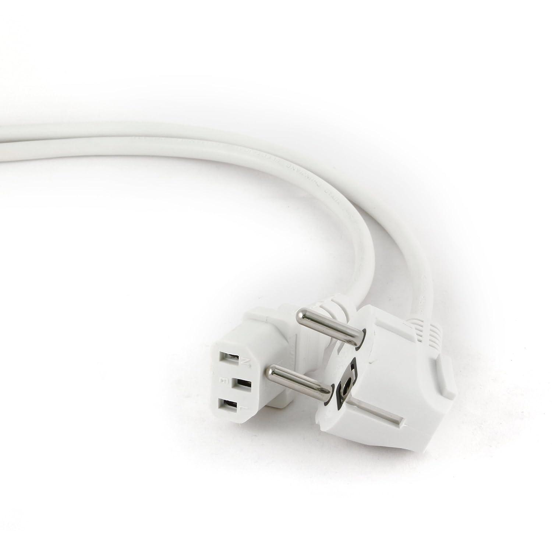 16/A; no polarizado 5m DVE Aprobado 50/Hz MutecPower Cable de alimentaci/ón de 5 Metros para Monitor de Ordenador con Toma de Corriente con Enchufe Schuko Angular a 90/°; IEC-60320 C13; hasta 250/V