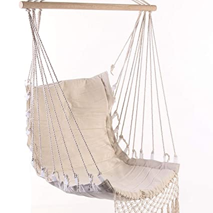 Amazoncom Romantic Fringed Macrame Swing Chair Hanging Rope Chair
