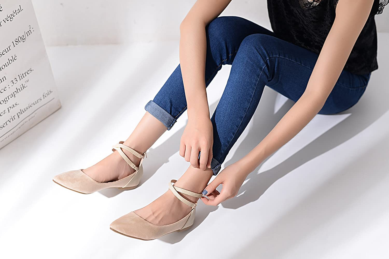 Mila Lady Fashion Lace up Ankle Straps Pointed Toe Ballet Flat Shoes with Comfortable Padded Insole B0731LGGKN 7.5 B(M) US|Nude.2