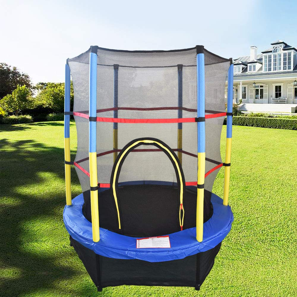 bluee Greenbay 55inch 4.5FT Kid Indoor Outdoor Trampoline Set with Skirt and Safety Net