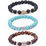 Infinite U pour homme femme bracelet Bouddha 9mm Perles d'énergie en alliage poignet Mala/Bracelet élastique Pierre de lave, thérapie Yoga, méditation, marron/bleu/noir