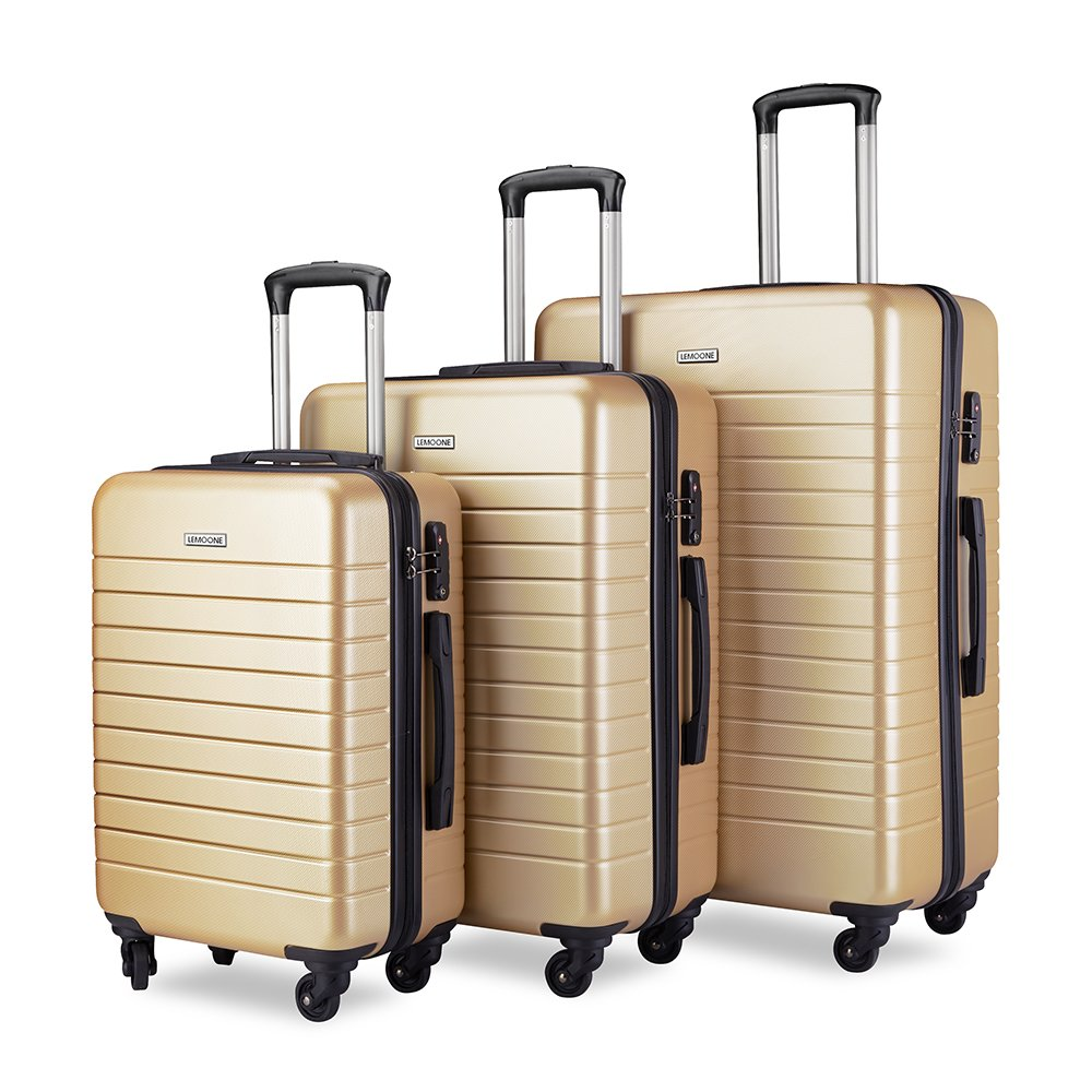 Luggage Sets Spinner Hard Shell Suitcase Lightweight Luggage - 3 Piece (20'' 24'' 28'') - Galaxy (Champagne)