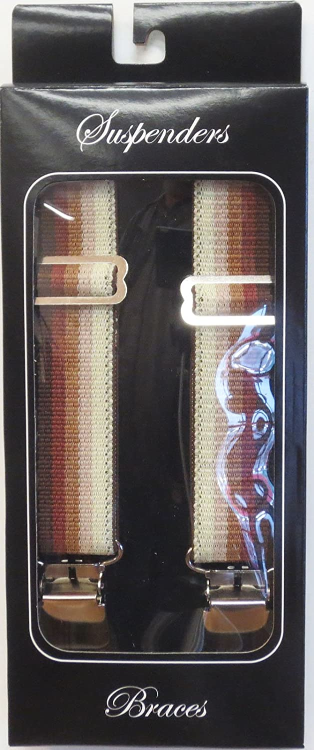 Suspender Station 1.5 Wide Suspenders Brown Ombre Stripes Heavy Duty Terry 54