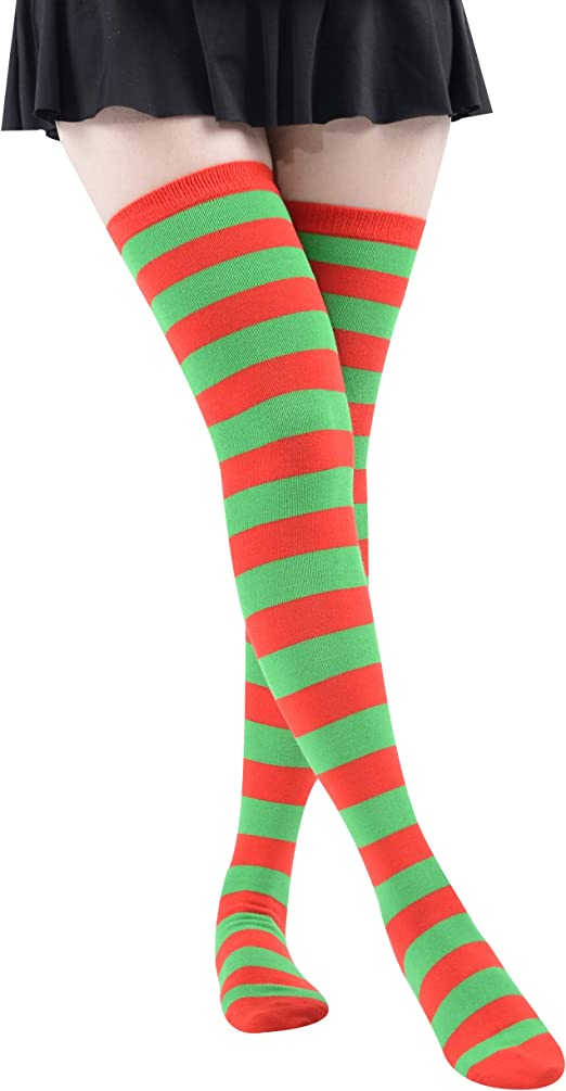 Ladies Over The Knee Thigh High Stretch Girls Soft Cotton Socks LYCRA BLACK RED