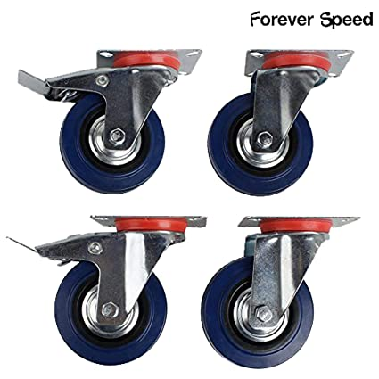 Forever Speed Ruedas Pivotantes de Transporte Ø 100mm Ruedas Giratorias para Carritos Muebles Con 2 Freno