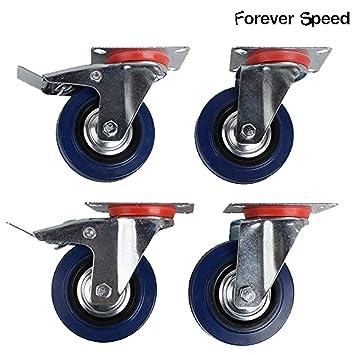 Forever Speed Ruedas Pivotantes de Transporte Ø 100mm Ruedas Giratorias para Carritos Muebles Con 2 Freno Azul Lote de 4 Soportan 70 kg por Rollo: ...
