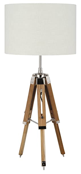 Pacific Lighting 867 NAT Wood Tripod Table Lamp Base Only, Natural