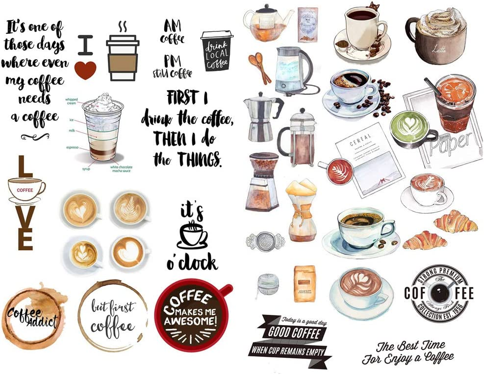 Love Coffee Time Precut Anti-UV Waterproof Decoration Notebook Planner Stickers Scrapbooking Diary Sticky Paper Flakes (PK012)