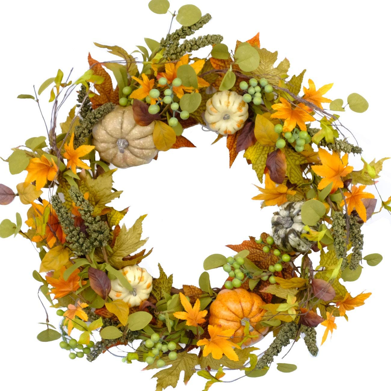 Bibelot 20 inch Autumn Wreath -Pumpkin and Maple Leaf Wreath with Greeen Berry for Front Door Hanging Wall Decoration,Fall Harvest,Thanksgiving, Home Decor