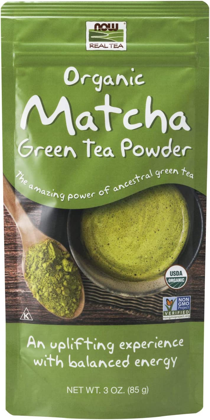 NOW Natural Foods, Certified Organic Matcha Green Tea Powder, Non-GMO Project Verified, 3-Ounce