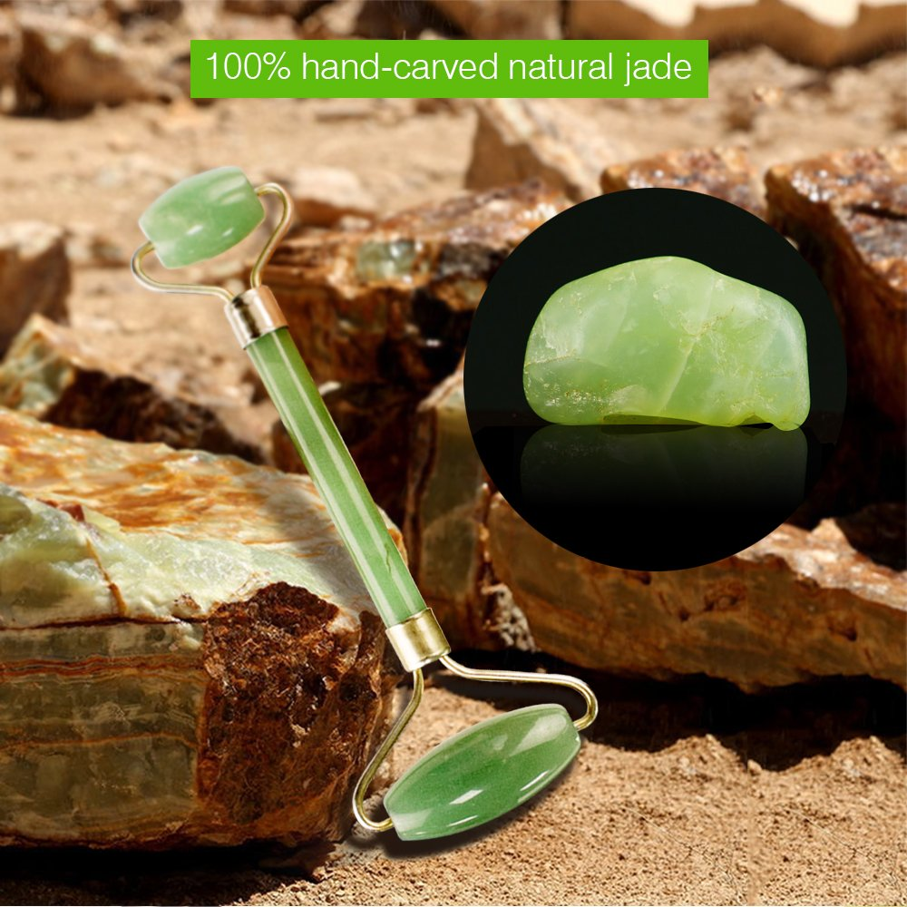 HENZIN Jade Roller - 100% Natural Jade Stone Anti-Aging Facial Therapy, Handmade, Anti Wrinkle and Skin Rejuvenate Face Massager - Green