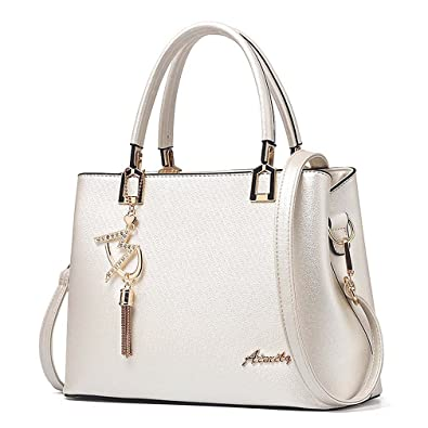 581cabdb3398 Amazon.com  Womens Purses and Handbags Shoulder Bags Ladies Designer Top  Handle Satchel Tote Bag (Beige)  Shoes