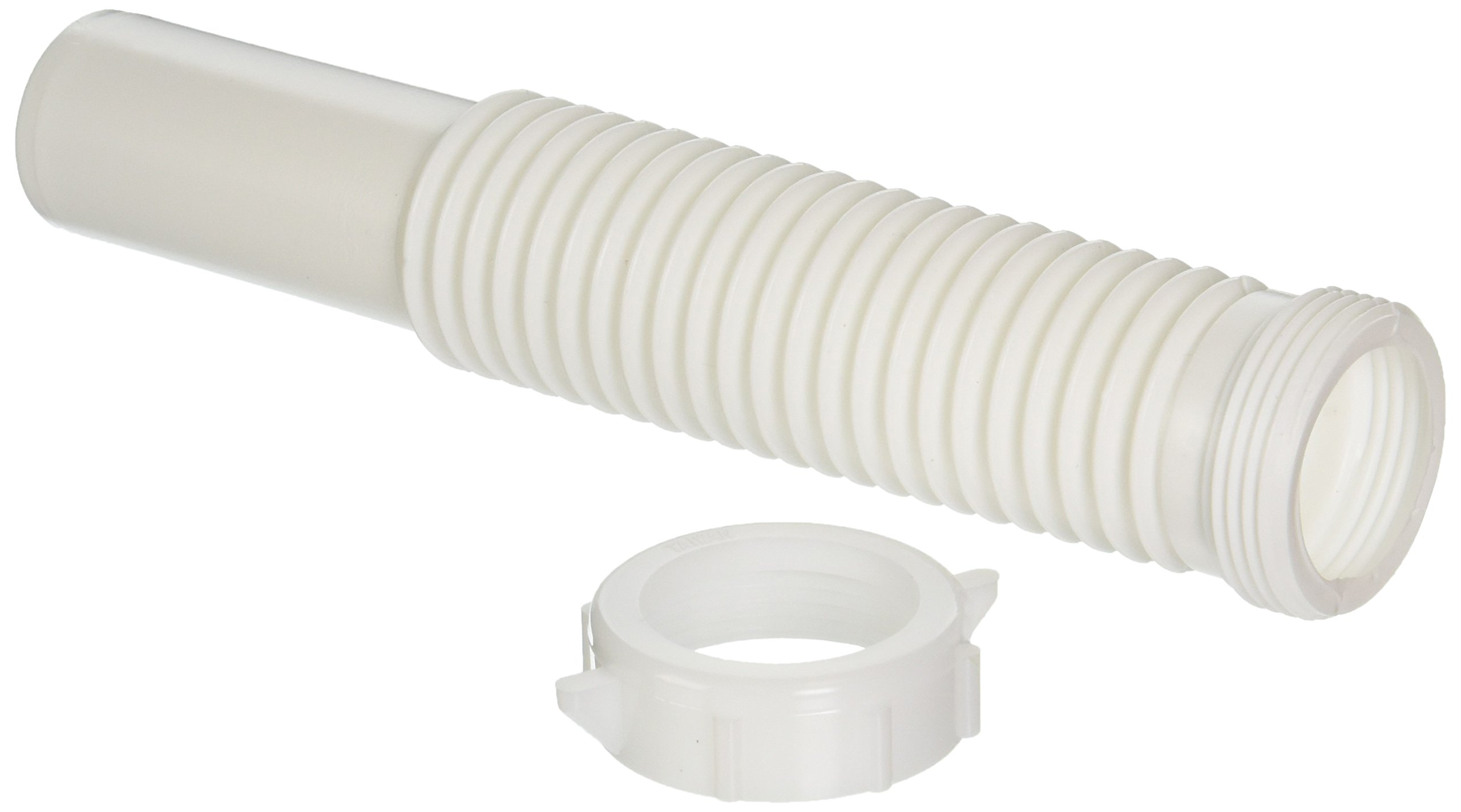 Danco 51070 Universal Flexible Tailpiece Extension, 1-1/4 In, Slip Joint, Plastic, 9 In L 1/1/4'' x 9'' White