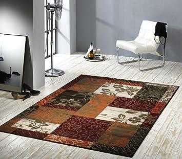 Tapis bord terre/rouge/beige avec fleurs/marron/moderne ...