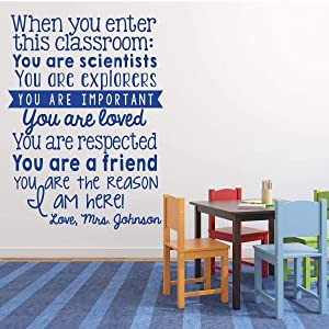 """Teacher Gifts   Personalized Name""""When You Enter This Classroom"""" Quote Vinyl Wall Decal   Inspirational, Motivational Saying   Small, Large Sizes   Black, White, Blue, Gray, Pink, Other Colors"""