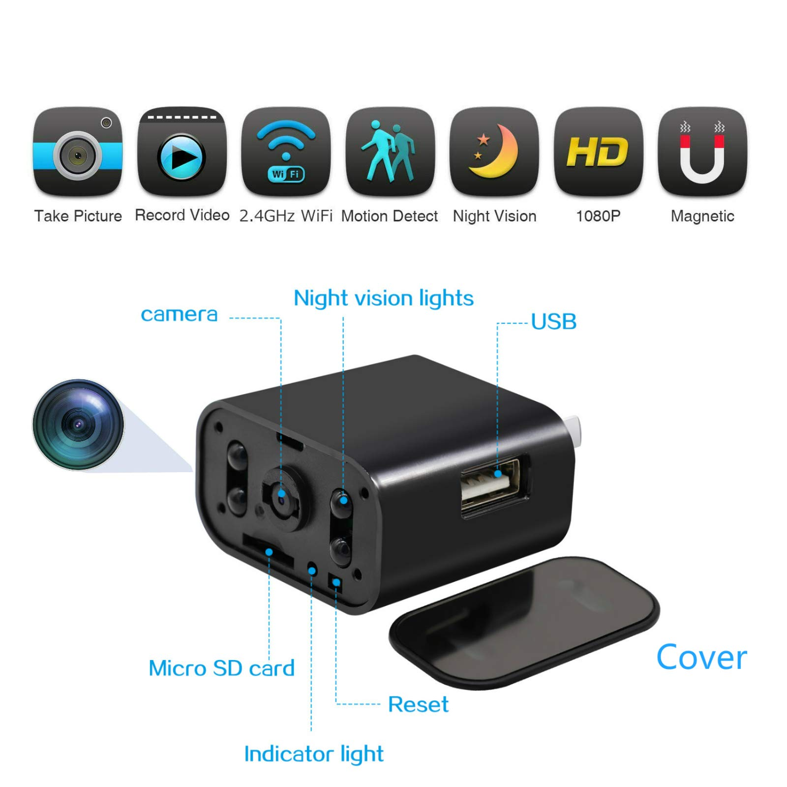 fomei Hidden Camera Spy Camera Night Vision WiFi Wireless Full HD 1080P Security Camera Motion Activated Indoor Outdoor Small Nanny Cam for Cars Home Apartment by fomei