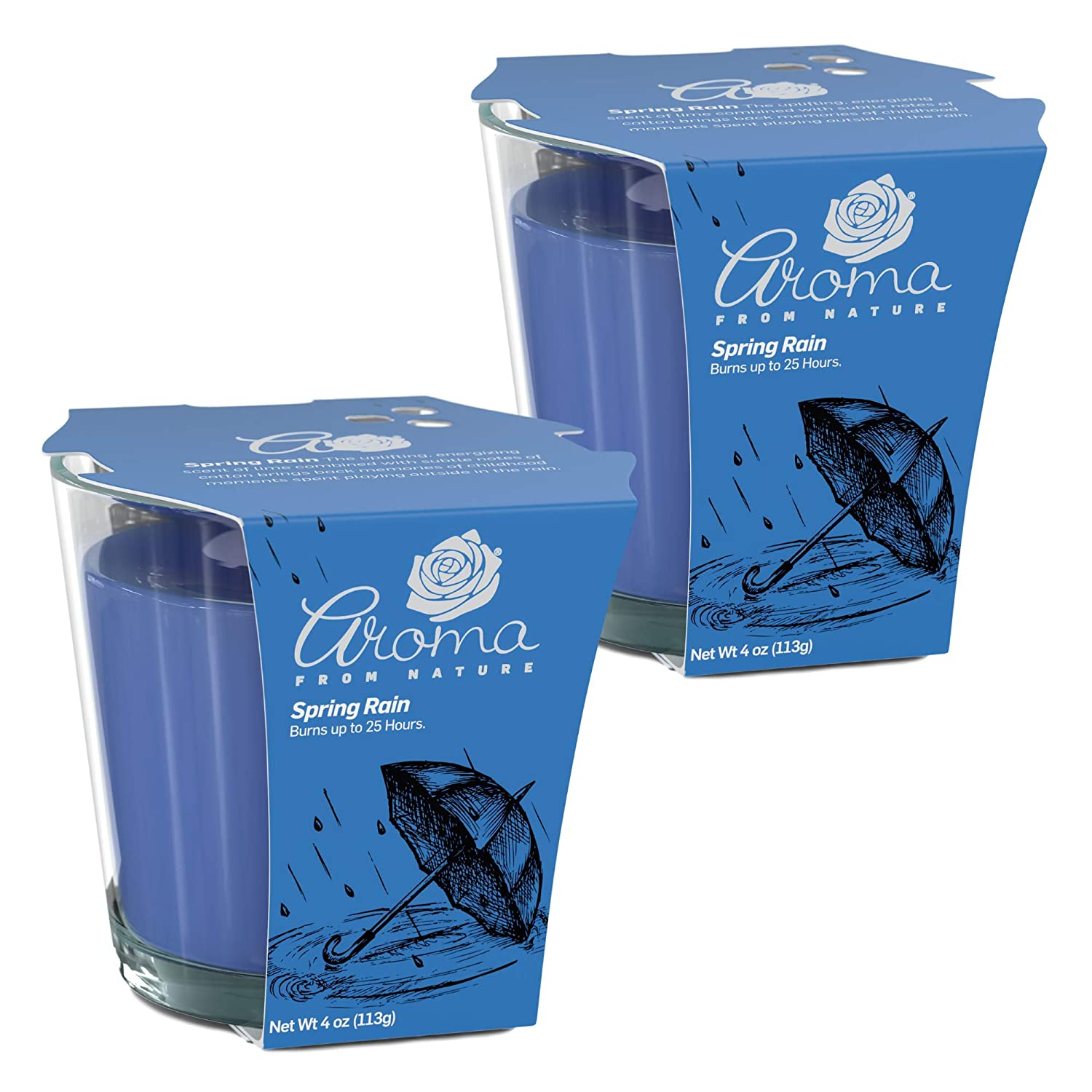 Aroma From Nature Spring Rain 4 oz AireCare Scented Candle - 2 Pack - Aromatherapy Candles - Home Fragrance - Apothecary Glass With Single Wick