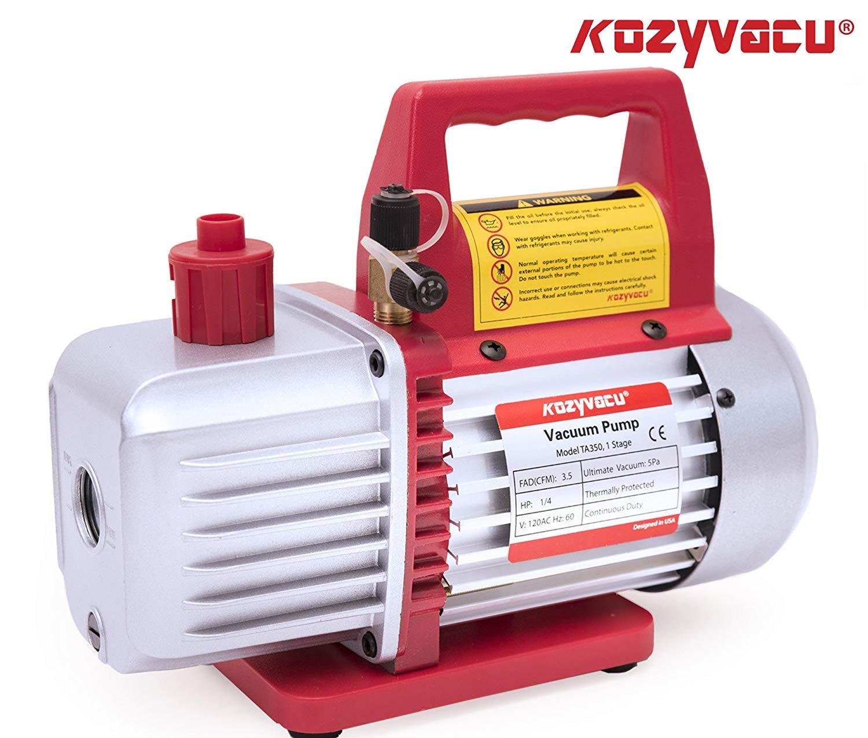 Kozyvacu AUTO AC Repair Complete Tool Kit with 1-Stage 3.5 CFM Vacuum Pump, Manifold Gauge Set, Hoses and its Acccessories by Kozyvacu (Image #4)