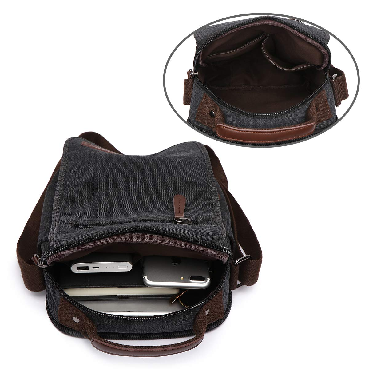 LOSMILE Bolsos Bandolera Hombre Pequeñas Bolsos de mano Bolsa de Hombro  Messenger Bag Bolsa de Lona para iPad mini ... 627d5b83e1c1